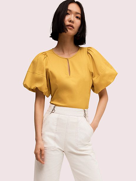 puff sleeve poplin blouse   Kate Spade New York