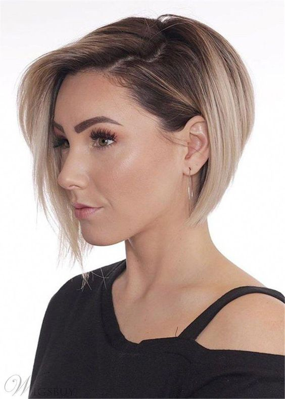 Short Bob Layered Hairstyle Synthetic Straight Lace Front Wig 10 Inches: M.Wigsbuy.com #shortbobhairstyles