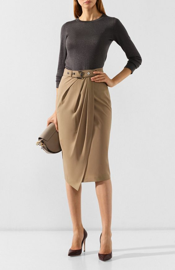Женская шерстяная юбка BRUNELLO CUCINELLI бежевого цвета, арт. MA105G2837 купить в ЦУМ — фото и цены