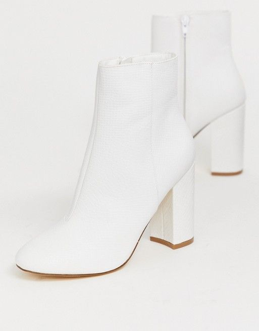 New Look | New Look snake effect heeled ankle boot in white £30