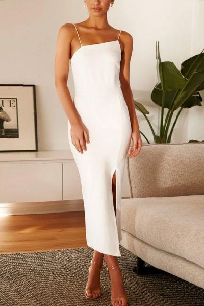 Sexy Sling Sleeveless Solild Color Backless Split Dress