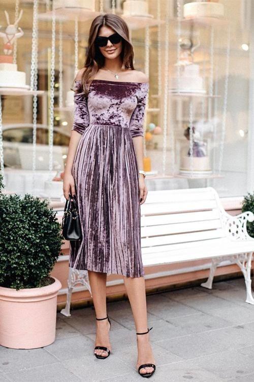 Off Shoulder Velvet Pleated Midi Dress