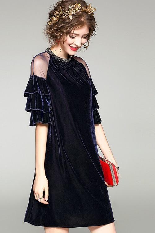 A-Line Mini Beaded Velvet Dress With Ruffled Sleeves Free Shipping - Dress Album