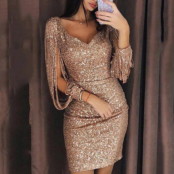 Sexy Deep V Long Sleeve Slim Shiny Evening Dresses