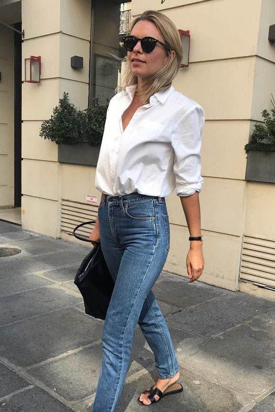 White shirt / Street style fashion / Fashion week / #fashionweek #fashion #womensfashion #streetstyle #ootd #style / Pinterest: @fromluxewithlove