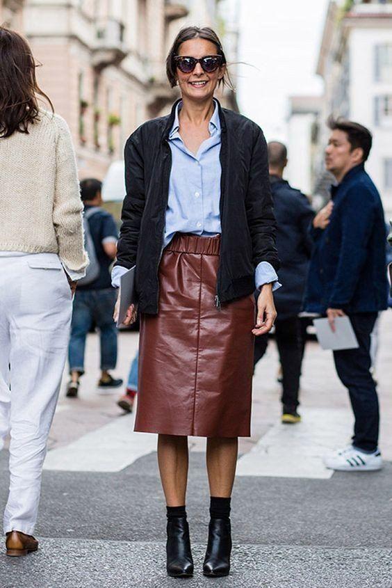 Стильные кожаные юбочки 5
