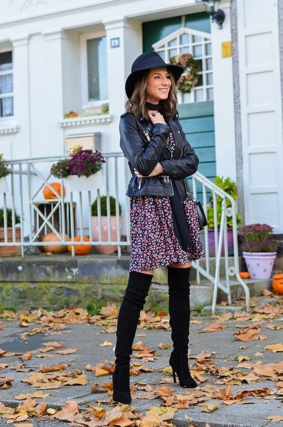 Moto leather jacket, flower dress, and thigh-high boots - all these items are must-haves in your wardrobe. And this is how they look when mixed. #highboots