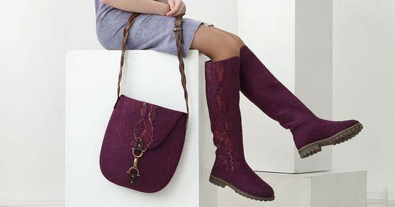 """Купить Сапожки и сумка """"Вино для королевы"""" - бордовый, бордовые сапоги, бордовые валенки, бордовая сумка"""