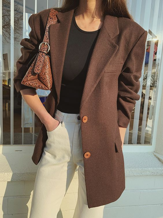 Oversized Brown Blazer — MODEDAMOUR