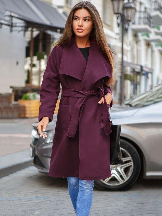 Пальто кольору марсала - Gepur - 3649531