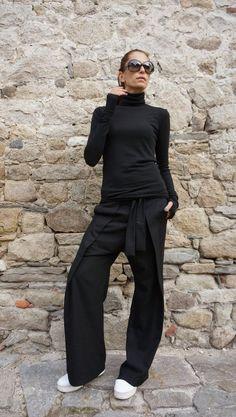 NEW Loose Black Pants / Wide Leg Pants /Extravagant Trousers   Etsy