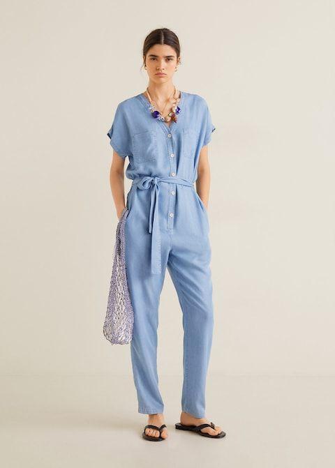 Denim style jumpsuit - Women   Mango United Kingdom