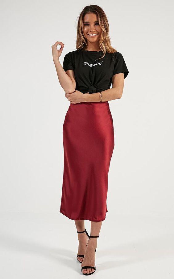 Space Odyssey Midi Skirt In Wine Satin Produced By SHOWPO