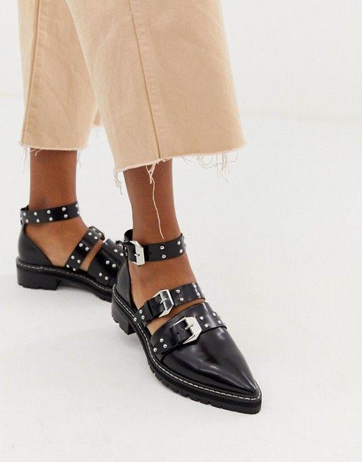 Кожаные туфли на плоской подошве с заостренным носком и заклепками ASOS DESIGN Mile End Premium   ASOS