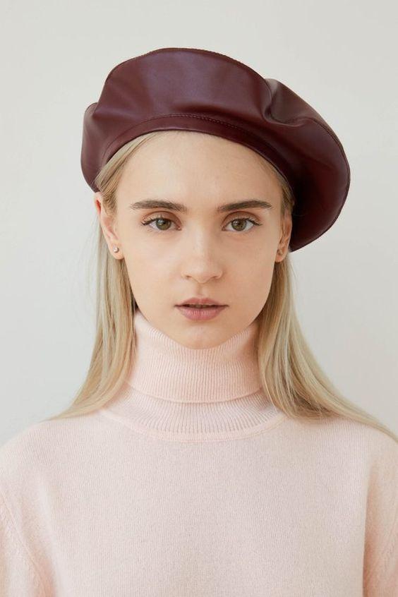BEATRICE Burgungy eco leather beret, burgundy beret, beret hat, women's beret, bordeaux beret, faux leather beret, vegan leather beret, eco leather beret, headdress, french beret, stylish beret hat, beret for women.