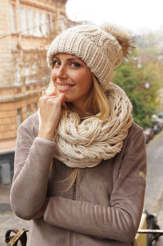 knit slouchy beanie knitted hats for women and by SnitkoStudio
