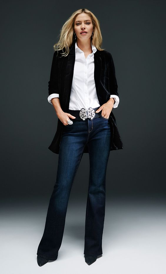 Party Dresses - Toss on a long velvet jacket to quickly refresh the classic jeans-and-white-shirt combo.