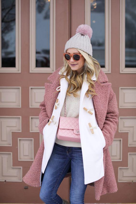 Пудровый цвет зимой 2019: 11 модных образов #winterfashion #winteroutfits