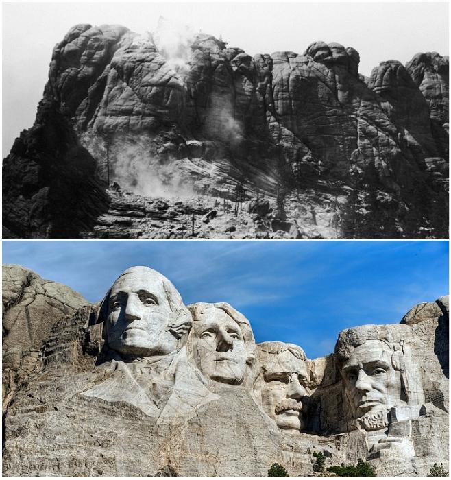 За 14 лет древняя святыня индейцев дакота превратилась в Национальный Мемориал под названием «Гора Рашмор» (США).   Фото: geographyofrussia.com/ maximonline.ru.