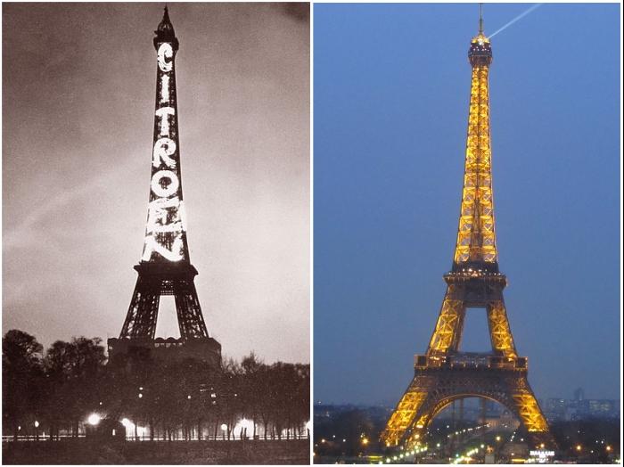 Огни Эйфелевой башни (Париж, 1925 г. и нынешнее время).   Фото: commons.wikimedia.org/ veronika-allure.blogspot.com.