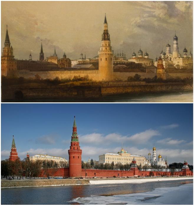 Старейшее документальное изображение Московского Кремля и наше время (1841 г. дагерротип Леребура).   Фото: moscowwalks.ru/ ermakvagus.com.