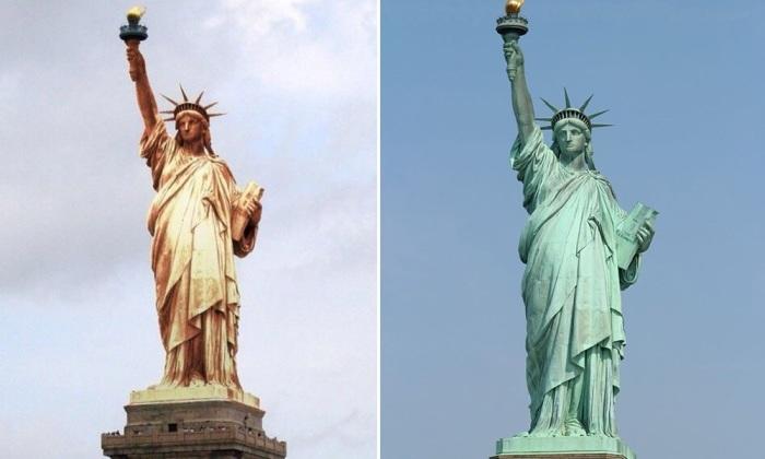 Как время и окружающая среда повлияла на внешний вид Статуи Свободы.   Фото: micccp.com.