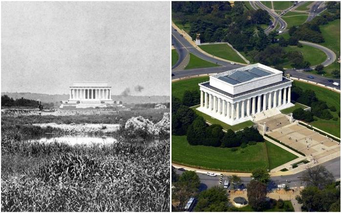 Мемориал Линкольна в 1917 г. и в наше время (Вашингтон, США).   Фото: putidorogi-nn.ru/ turizm.mirvokrugnas.com.