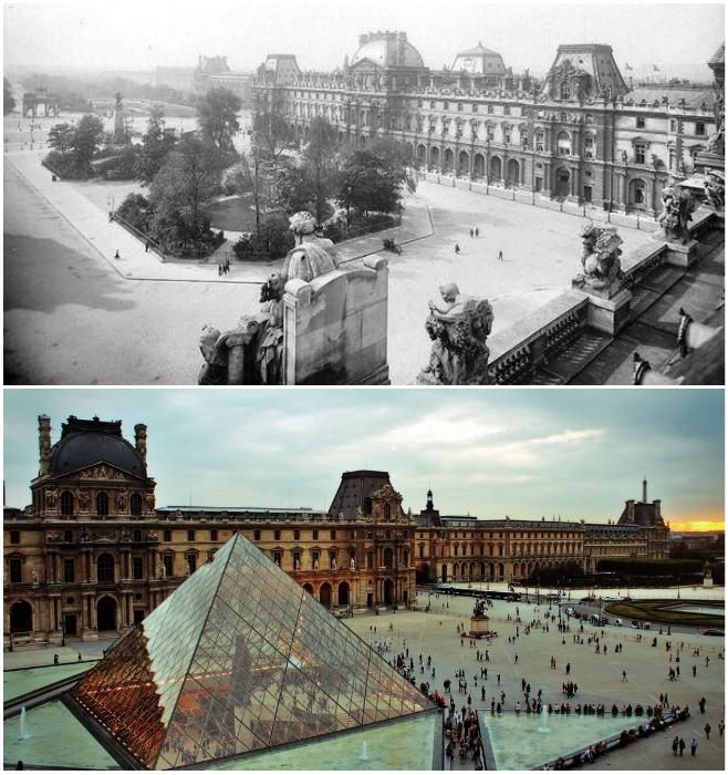 Музей Лувра в Париже в 1910 г. и современный вид (Франция).   Фото: oeildelaphotographie.com, © Les Freres Seeberger/ posmotrim.by.