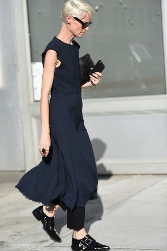 Navy Dress   Menswear   Androgynous Outfit   Black Buckle Oxfords