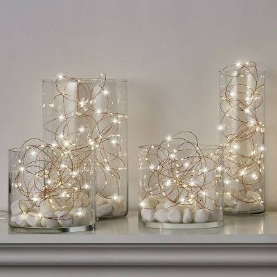 Philips Battery Operated Dewdrop LED String Lights Warm White Twinkle with Copper Wire