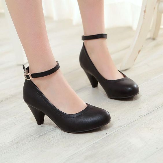 Chic Women's Ankle Strap Kitten Heel Casual Ol Mary Janes Pumps Shoes Plus Size