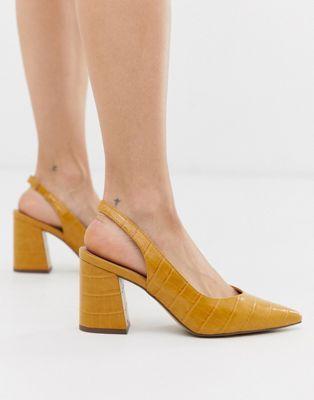 New Look slingback block heeled shoes in dark yellow croc | ASOS