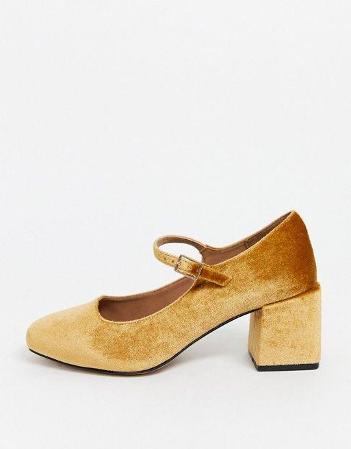 Бархатные туфли Мэри Джейн для широкой стопы ASOS DESIGN | ASOS