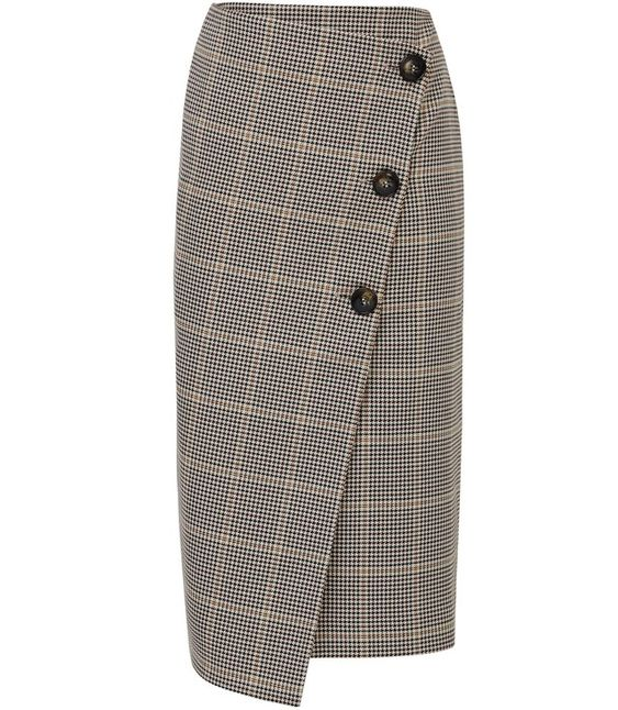 """The Jasmineskirt in navy-and-rust check is crafted to sit high on the waist and fall to a chic, A-line silhouette. It's detailed with a wrap-front designand has a button fastening to the front. Wear it with a silkblouseandblazerfor a modern take on power dressing. + The model is wearing a size 8 + Model is 5ft 10 1/2 """"/179 cm, and a size 8 + 69% Polyester 29% Viscose 2% Elastane + Machine wash"""