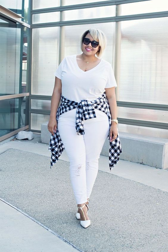 A monochromatic white look gets a playful punch with gingham.Click through to shop the look.