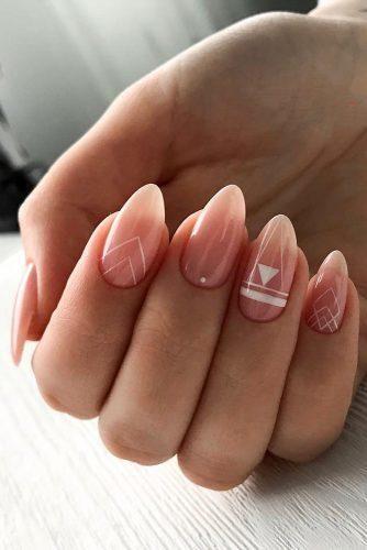 Perfect Pink And White Nails For Brides ★ pink and white nails bridal boho geometry design idea ksu.pro.nails