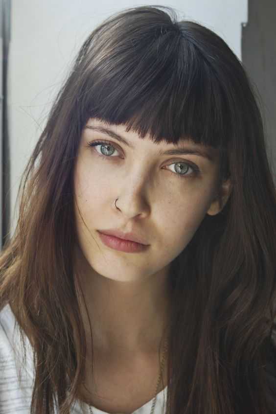 straight bangs // pretty close to my hair color, too