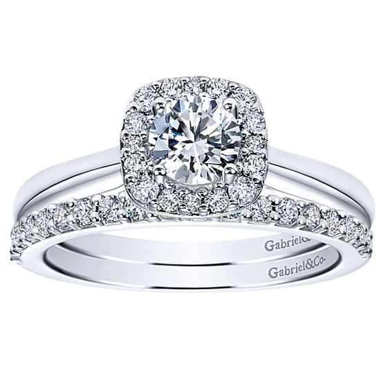 Miley 14k White Gold Round Halo Engagement Ring angle 4