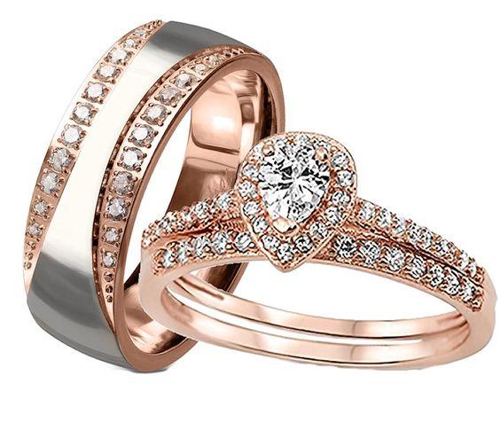 His her matching wedding ring set. Rose gold wedding set. #edwinearls #engagement #weddings