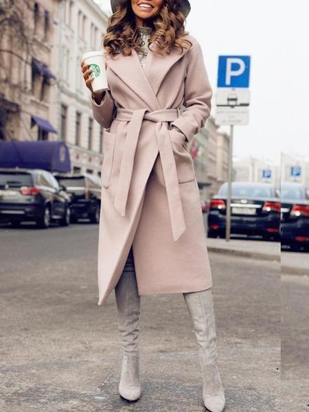 Available Sizes : S;M;L;XL Bust(cm) : S:94cm; M:98cm; L:102cm; XL:106cm Length(cm) : S:88cm; M:89cm; L:90cm; XL:91cm Sleeve Length(cm) : S:56cm; M:57cm; L:58cm; XL:59cm Type : Slim Color : Khaki Decoration : Pockets, Sashes Material : Polyester Collar : Turndown Collar Pattern : Plain Sleeve Length : Long Sleeve