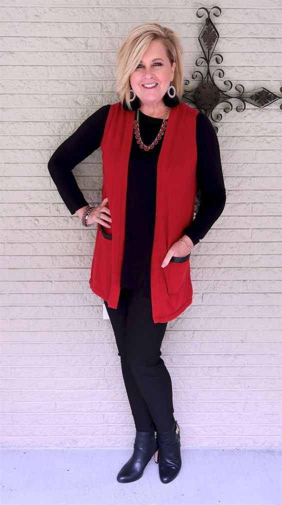 50 IS NOT OLD | HOW TO ROCK BLACK ON BLACK | FASHION OVER 40 | Slimming | Red and Black | Ankle Boots | Fashion over 40 for the everyday woman
