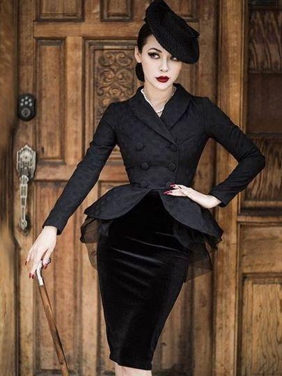 Black Long Sleeve Mesh Elegant Women's Skirt Suit