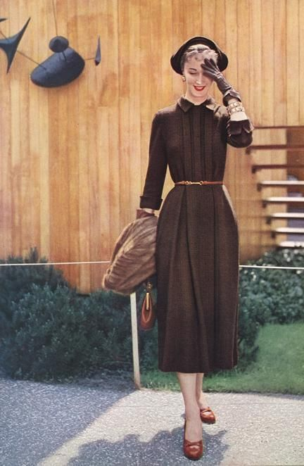 Vogue Pattern Book, October-November 1949 brown day dress 40s 50s hat shoes gloves fashion vintage style color photo print ad model pleated skirt 3/4 sleeves