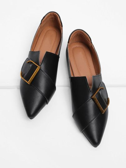 Shop Buckle Front V Cut Detail PU Flats online. SheIn offers Buckle Front V Cut Detail PU Flats & more to fit your fashionable needs.